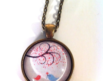 Happy Birds and Tree Glass Dome Necklace