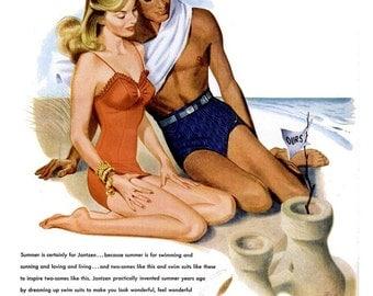 1946 Jantzen Swim Suits Fashion Pete Hawley Pin Up Illustration & Hunter Liquor Ads Summer Romance Swimwear Beach Sea Coastal Decor Wall Art