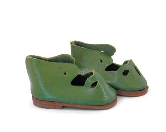 Green Vinyl Mary Jane Shoes by Kayjay 1980's Doll Shoes w/ Leather Soles