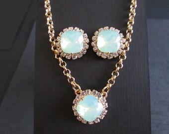 Chrysolite Opal Swarovski Jewelry Set/Green Opal Bridesmaid Jewelry/Opal Swarovski Studs/Swarovski Crystal Opal Necklace/Opal Halo Earrings
