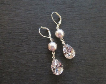 SmokyMauveSwarovski Crystal and Pearl Drop Earrings/Wedding Jewelry/Smoky Mauve Bridesmaid Earrings/Purple Crystal Earrings/Pearl Earrings