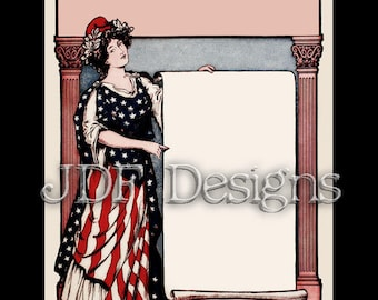 Instant Digital Download, Vintage Graphic, Patriotic Lady Liberty Frame, Flag Costume Printable Image Scrapbook, Americana, July Fourth, 4th