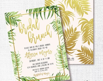 PINK PALM gold, tropical bridal shower invitation, luau, Hawaiian, baby shower, birthday, wedding shower, bridal brunch, palm invite, blush
