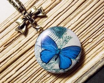 Blue Morpho Butterfly Locket