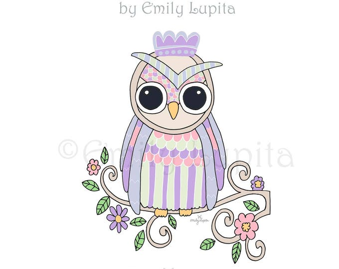 "Illustration Art Print ""Lilac Owl"" / Bird Portrait Wall Art / Nursery New Baby / Baby Shower Gift / Animal Artwork"