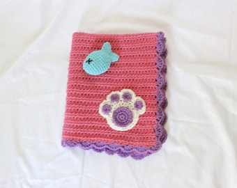 Crochet Pet Blanket/Cat Blanket/Small Dog Blanket and Toy Fish Set in Pink and Purple - Ready to Ship