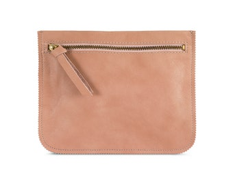 Peach leather pouch, leather wallet, women leather pouch