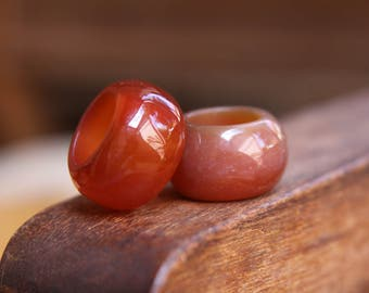 Natural Red Agate Gemstone 15mm Hole (5/8 Inch)