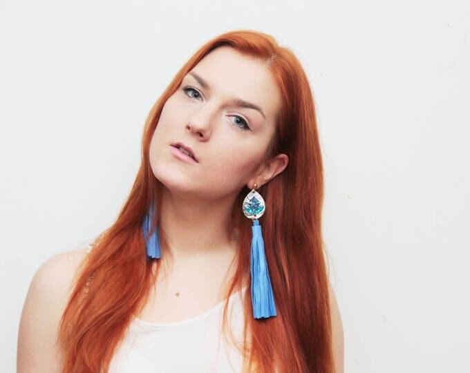 Oversized tassel earrings. Leather tassel earrings. Statement earrings. Tassel jewelry. Long tassels. Fringe earrings. Gemstones./MIRACLE 25