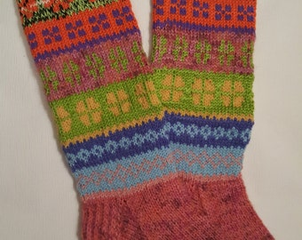 Hand Knit Colorful Socks-Womens Soks-Long Socks-Size Medium-US W7 /EU38