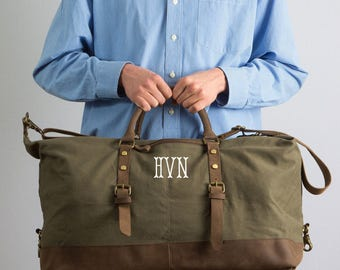 Canvas and Leather Weekender Duffle Bag For Men with Monogram