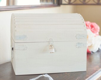 Shabby Chic Card Box, Wedding Card Box, Baby Shower Card Box, Large Card Box with a Lock and Key by Burlap and Linen Co