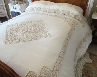 Art Deco Net Lace Crochet Bedspread And Pillow Cover Full Size