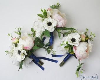 Bridesmaid Bouquet, Silk Flower Bouquet, Peony Bouquet, Blush Pink Bouquet, Anemone Bouquet, Wedding Bouquet, Wedding Flowers, Bouquet Set