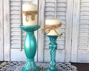 Metallic Turquoise Green Baroque Candle Holders - Pillar Holders