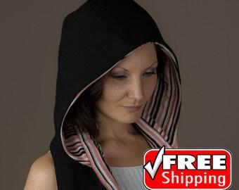 Hooded Scarf, Hood Scarf, Hooded Shawl,Hoodie Scarf,  Scoodie, Reversible Infinity Scarf, Scarves For Women, Black Hood,Hooded Scarves