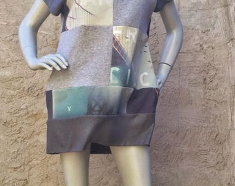 Fifty Shades of San Francisco Upcycled Big Sweatshirt Shift Dress in Heathered and Slate Greys