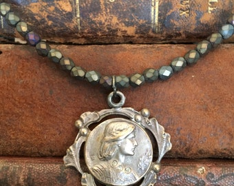 DON'T FORGET 10% OFF all Jewelry - Use Code: happy10 - Beautiful Antique Silver Joan of Arc Medal Necklace
