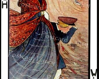 MARCH Wind Blows, Vintage Postcard Illustration, Calendar Month,  Instant DIGITAL DOWNLOAD