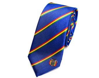 """Bolivia Skinny Tie - Inspired by the Bolivian Flag. 2.5"""" Width. LDS Missionary. Husband Gift, Missionary Gift."""
