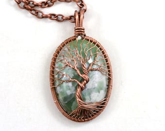 Family Tree-Of-Life Necklace Pendant Wired Copper Pendant Rustic Gilbertite Gemstone Copper Jewelry Healing stones Protection Amulet  Unisex