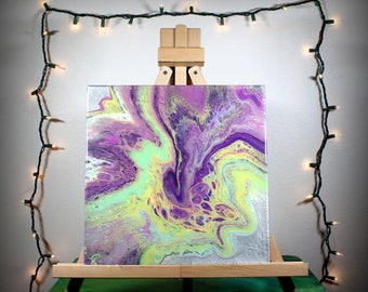 "multicolor fluid acrylic painting - 12x12 - OOAK, ""wild"", fluid painting, acrylic painting, abstract, square, silver, purple, lime green"