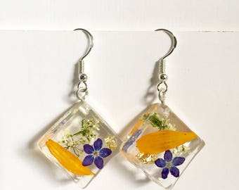 Dried Merigold Purple Forget Me Not Flower Resin Earrings with Sterling Silver hooks
