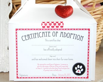 Puppy Love Certificate of Adoption | Printable | Instant Download | | Dog Party | Paw-ty | Puppy Adoption