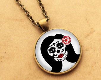 Sugar Skull Necklace - Catrina Pendant 3 Day of the Dead Rockabilly Pin-up Girl Cabochon Gothic Black Punk