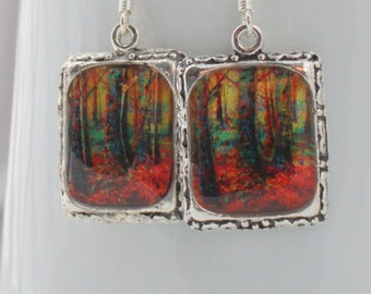 Forest Trees Earrings Jewelry Silver 3D Dimensional Picture Red Square
