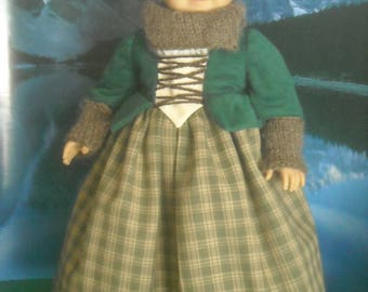 """American Girl 18"""" Doll Outlander Green Claire Dress and Accessories"""