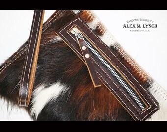 Cowhide clutch - hair on hide clutch - zippered bag