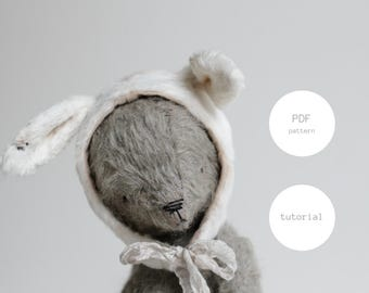 Easter Bunny PDF Sewing Pattern Teddy Bear Rabbit Ears 8 Inches Digital Download PDF Tutorial Easy To Follow Stuffed Animal For Woman