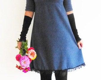 Dress 3/4-sleeve, form A, Empire Blue, warm,