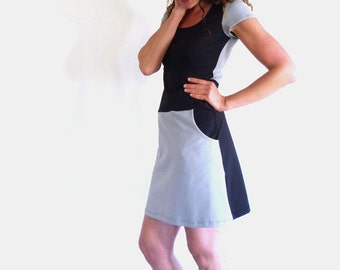 Dress with pockets, short-sleeved, grey and black