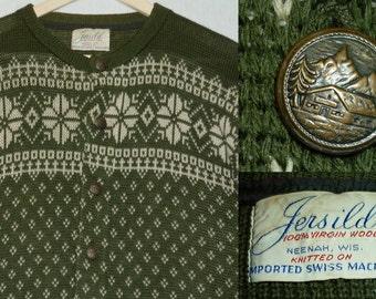 1960s Sweater / XL - XXL / Jersild / Wool / Fair Isle / Snowflake / Cardigan / Ski Sweater / Vintage 1960s Mens Clothing / James Bond / 60s