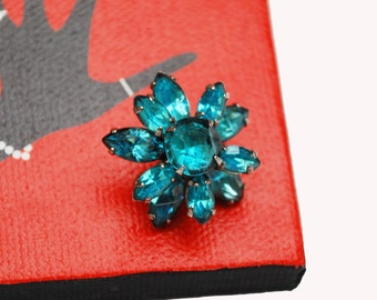 Aqua Blue Flower Brooch - Rhinestone Floral - Mid Century small pin jewelry
