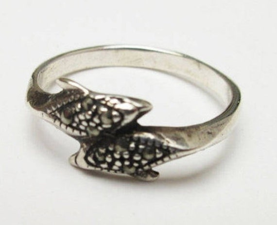 Sterling Dolphin Ring  Silver  studs marcasites - size  8 1/2