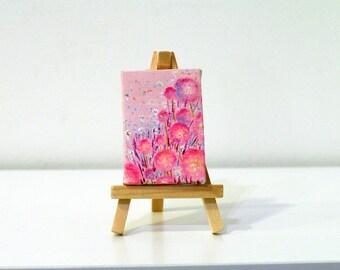 Tiny floral canvas art Tiny acrylic painting Flower small painting Tiny painting Floral painting Mini canvas Original flower painting