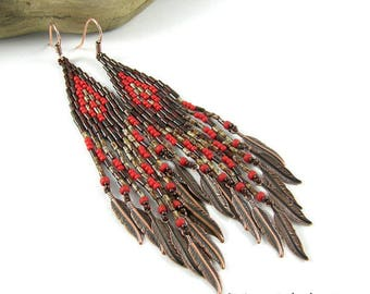 Fringe seed bead earrings Long beaded earrings  Beadwoven Long hippie earrings Boho seed bead dangle earrings Everyday earrings Brown Red
