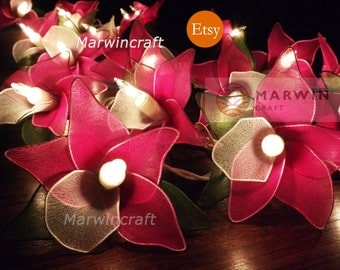 Battery or Plug 20 Pink Magenta Orchid Flower Fairy String Lights Hanging Party Patio Wedding Garland Gift Home Living Bedroom Holiday Decor