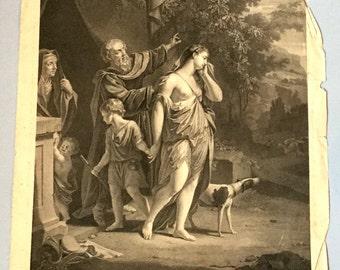 Agar renvoyée par Abraham van Dyck Engraver Carlo Antonio Porporati Large Biblical engraving 18th century religious art