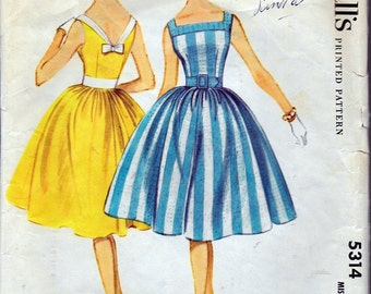Vintage 1960 McCall's 5314 Sleeveless Dress Sewing Pattern Size 12 Bust 32""