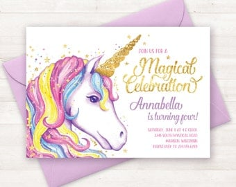 Unicorn Invitation, Unicorn Birthday Invitation, Unicorn Party Invite, Unicorn Birthday Party Invitation Printable Unicorn Invite Watercolor