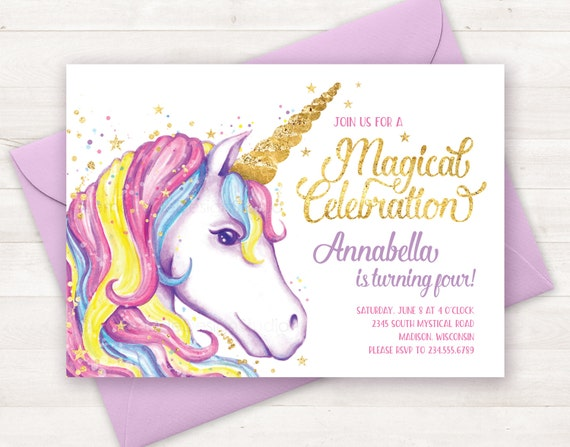 Sweet image with regard to free printable unicorn birthday invitations