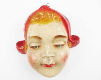 Vintage Chalkware String Holder - Blue-eyed Dutch Girl With Red Hat - String Caddy - Plaster-of-Paris 3-D String Holder