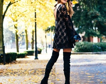 Melati Mini Dress in Black/Nude