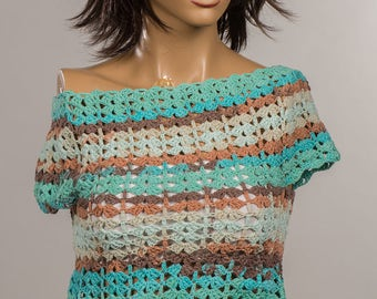 Turquoise Cream Brown Summer blouses. Crochet spring tops. Halter top on beach.