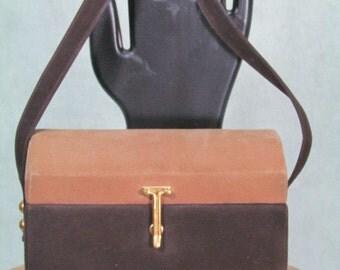 1950s Box Purse Vintage Handbag Two Tone Brown Suede Lennox Label Brass Latch