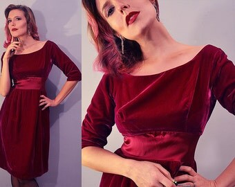 Ultimate Classic 50's Bombshell Crimson Velvet Holiday Party Dress / Small / Mid-Century